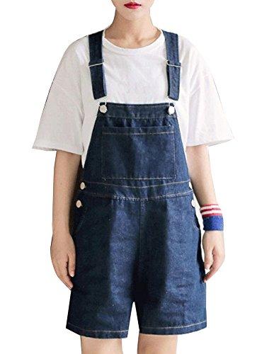 Gladiolus Damen Kurze Jeans Latzhose Waschungen Große Größe Shorts Slim Einteiler Lockere Hosen Dunkelblau 2XL