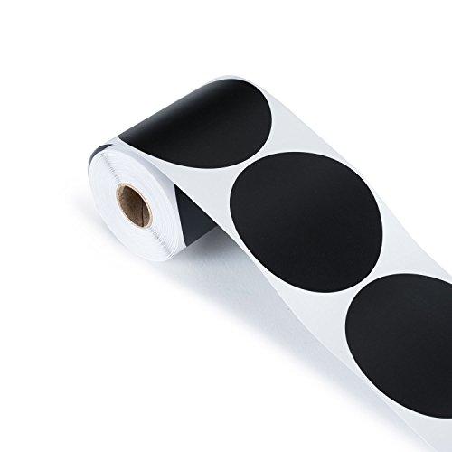 LabelQueen 100 Tafelsticker in Matt-Schwarz Rund 4 x 4 cm, Etiketten, Vinylsticker, Tafelaufkleber in praktischer Spenderbox für Einmachgläser, Marmeladengläser
