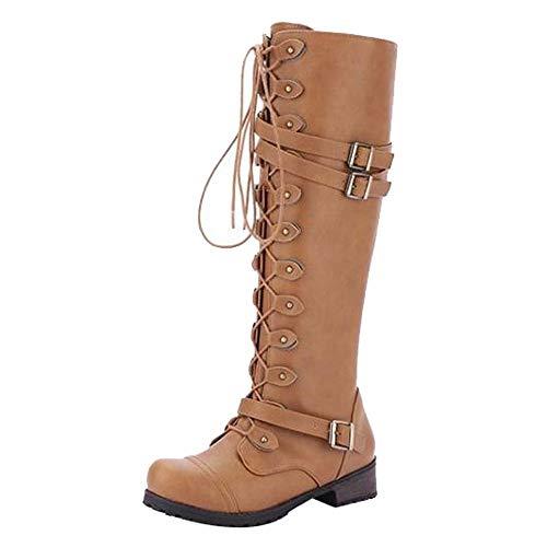 WUSIKY Stiefeletten Damen Steampunk Gothic Vintage Style Retro Punk Schnalle Militär Kampfstiefel Bootsschuhe Damen Schuhe (Gelb, 42 EU)