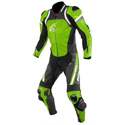 コミネ(KOMINE) バイク用 レーシングレザースーツ ライムグリーン S S-53 本革 CE規格レベル2 ストレッチ素材