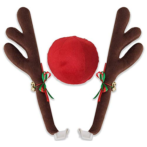 SovelyBoFan Car Reindeer Antlers & Nose - Window Roof-Top & Grille Rudolph Reindeer Jingle Bell Christmas Costume Auto Accessories