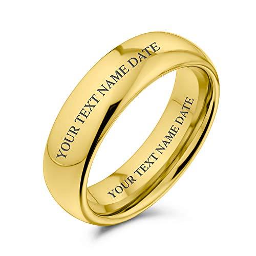 Bling Jewelry Personalizada Boda Parejas Domo Sencilla Banda Tungsteno Chapado En Oro 14K Anillo para Hombres Y Mujer 6Mm Grabado