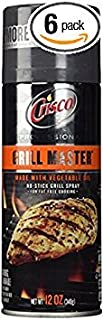 Crisco Professional Grill Master No Stick Grill Spray 12oz Can (Pack of 6)