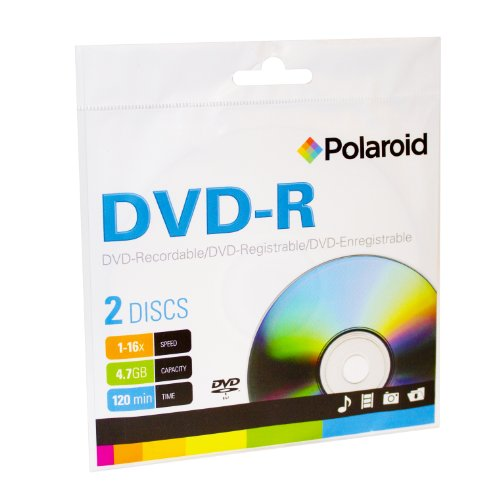 Polaroid PRDVDR2CPSS DVD-R 4.7GB 120-Minute 16x Recordable DVD Disc, 2-Pack Sleeve Case