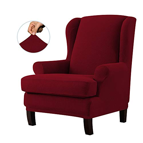 E EBETA Jacquard Sesselbezug, Sessel-Überwürfe Ohrensessel Überzug Bezug Sesselhusse Elastisch Stretch Husse für Ohrensessel (Weinrot)