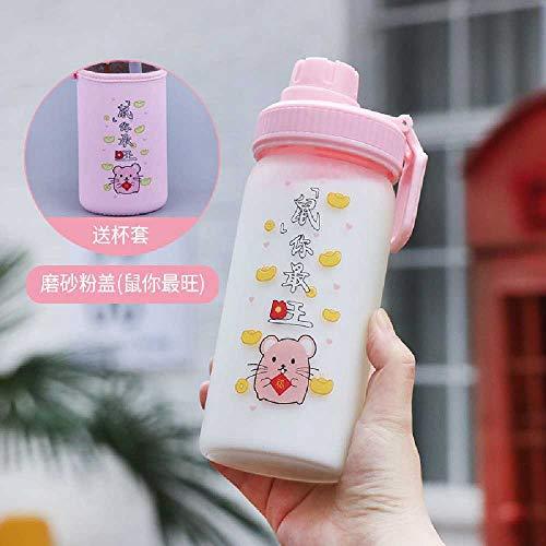 wangwei Neue Cartoon Stroh Trinkbecher Nach Hause Einfache Netto Rote Milch Teetasse Studentin Niedliche Einschichtige Glas 480 ml/matt pink + Tassendeckel