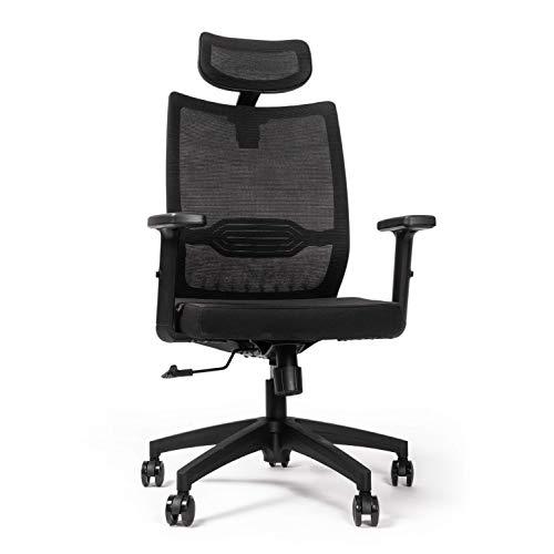 RIGHT TECHNOLOGY Ergo Advanced Schreibtischstuhl, Drehstuhl hat Verstellbarer Lordosenstütze, Kopfstütze und Armlehne, Höhenverstellung und Wippfunktion, Rückenschonend, Bürostuhl bis 150kg/330LB