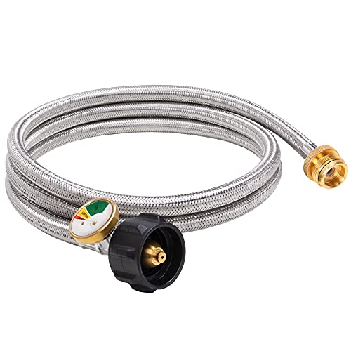 SHINESTAR 6FT Braided Propane Hose Adapter 1lb to 20lb with Gauge, Converts Coleman Camping Stove, Tabletop Grill, Heater and More Portable Appliances to Propane Tank