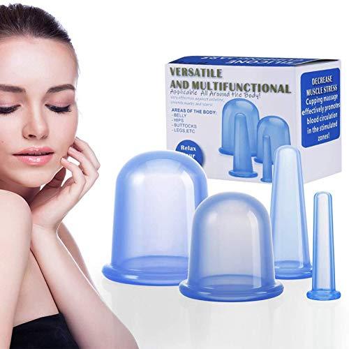 Schröpfen Silikon Vacuum Cup Cellulite Cup Massagegeräte tools set 4 Stück Schröpfgläser Anti Aging Anti Cellulite Zurück Körper für Gesicht und ganzen Körper (Blau)