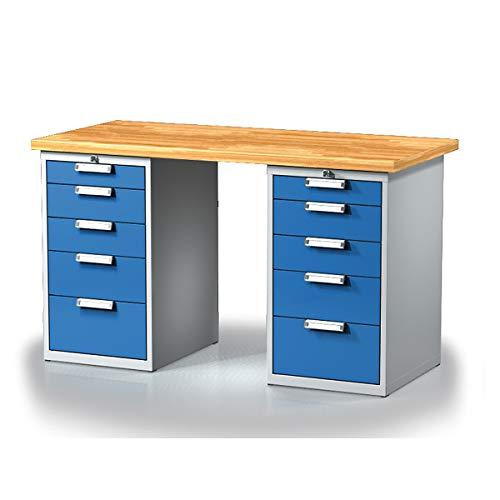 Certeo Arbeitstisch mit Schubladenschränken | 10 Schubladen | Länge 1500 mm | Werktisch Werkbank Multifunktionstisch Arbeitsstation