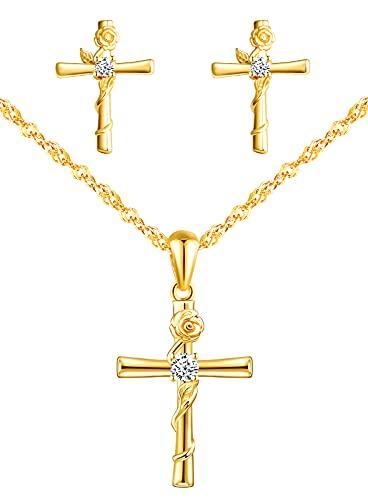 Yumilok Juego de collar y pendientes para mujer, de plata de ley 925, con colgante de cruz y rosas, para mujeres y niñas, Plata esterlina Circonita,