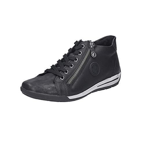 Rieker Damen M3044-90 Hohe Sneaker, Schwarz (Schwarz-Metallic/Schwarz/Schwarz 90), 40 EU