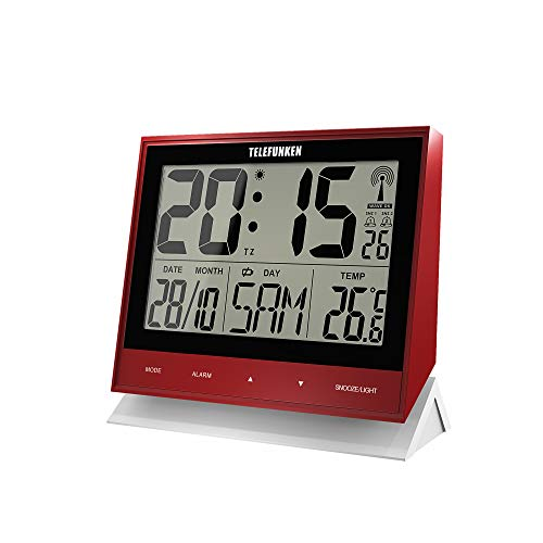 FUX-500 (R) - Despertador inalámbrico, digital, tamaño XL, sin consumo de batería cuando se utiliza con cable USB, indicador de temperatura, calendario, teclas de sensor en la parte delantera, rojo