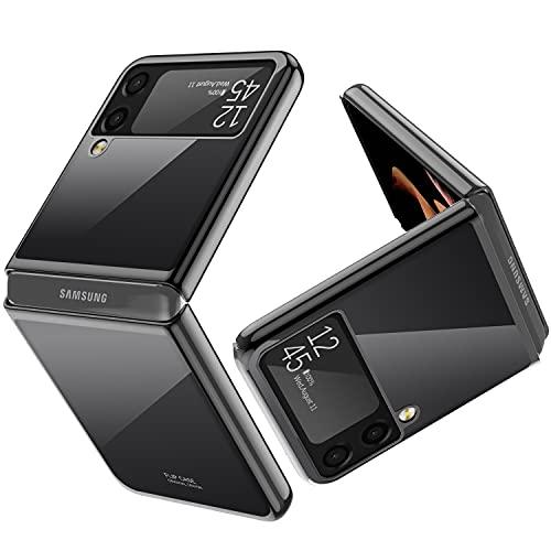 Vizvera für Samsung Galaxy Z Flip 3 Mobiltelefongehäuse, Galaxie Z Flip 3 Handyhülle ultradünn, Galvanik transparent hochwertiger Vollschutz PC-Abdeckung für Samsung Galaxy Z FLIP 3 5G 2021-Schwarz