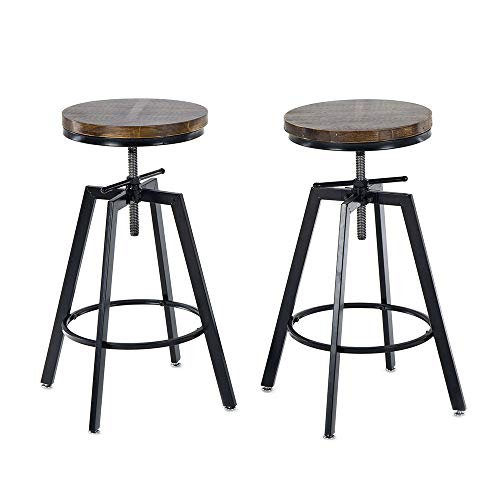 GIMHAI HOME Counter Height Bar Stools Set of 2,Black Metal Swivel Bar Stool - Adjustable Height - Natural Wood Seat - Rustic Brown
