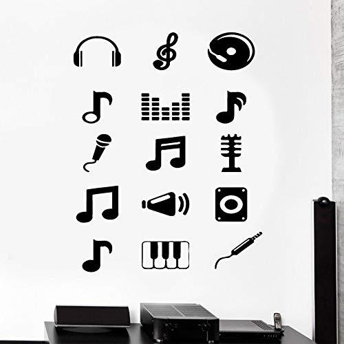 sanzangtang Muurschildering muziek melodie Opmerking Applique gitaar gitarist muziek toetsenbord hoofdtelefoon aftrekplaatjes club decoratie vinyl sticker