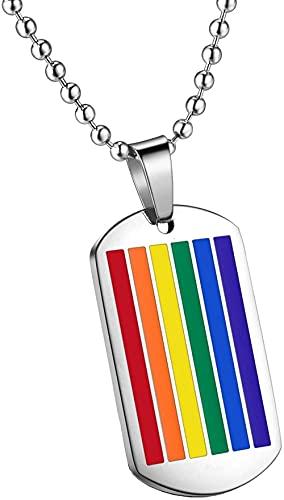 NC190 Collar con Colgante de Etiqueta de Perro Cuadrada con Bandera de Orgullo lésbico Gay arcoíris de Acero Inoxidable para Hombre