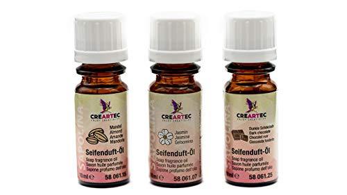 Artidee CREARTEC 3er Set Seifenduftöl - 3x10ml - Herbst bestehend aus Mandel, Jasmin & Schwarze Schokolade - Made in Germany