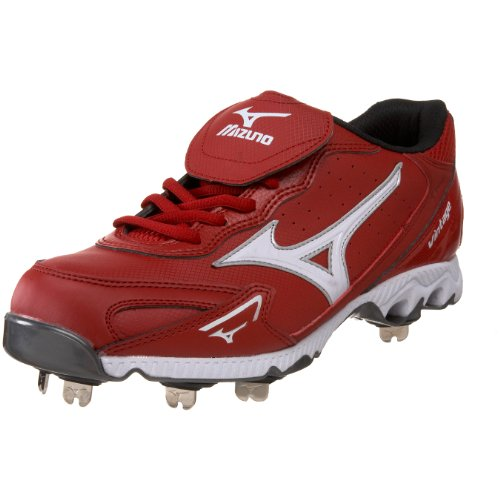 Mizuno Herren 9-Spike Vintage G6 Low Baseball Cleat, Rot (rot/weiß), 42 EU
