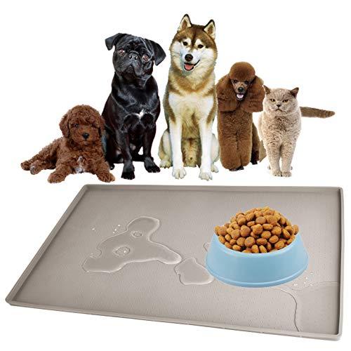 Gosmol Dog Food Mat 24 x 16 inch, 0.5 inch Raised Edge Waterproof Pet Dog Food Tray, Washable Dog Bowl Mat, Nonslip Pet Dog Feeding Mat, Silicone Dog Placemat for Floors