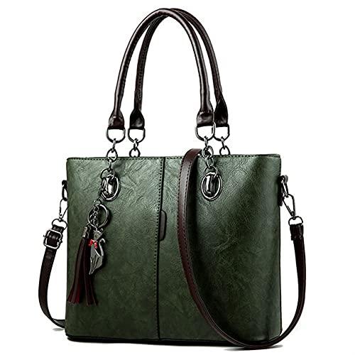 Bolsos de hombro para mujer, bolsos de lujo, bolsos de diseño, borla de cuero, bolso con asa superior (color: verde)