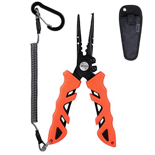 RUNCL Fishing Pliers S1, Needle Nose Pliers - Braid Cutter, Hook Remover, Split Ring Opener, Weights Crimper, Bait/Weight Tuner, Fish Gripper - Kayak Fishing Ice Fishing Saltwater&Freshwater (Orange)