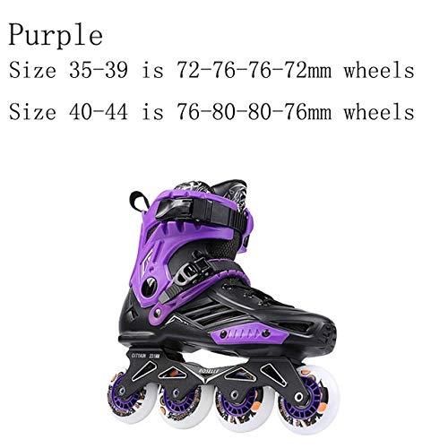 LBBL Skates, Patines en línea gruesos de aleación de aluminio soporte de PVC resistente al desgaste Material superior de malla ABEC-7 rodamientos de acero al carbono para niños y adolescentes (color amarillo 72 76 80 mm, talla de zapato: 41)