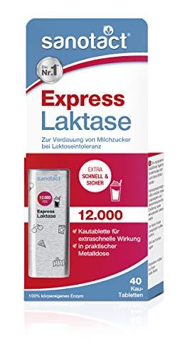 sanotact Express Laktase 12.000 FCC Tabletten - 40 Kautabletten, zur Verdauung von Milchzucker bei Laktoseintoleranz, praktische Metalldose
