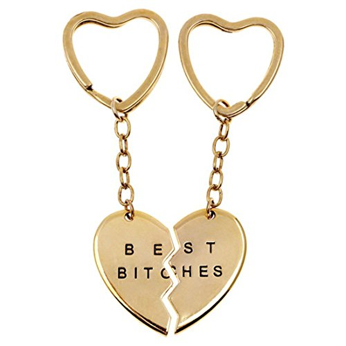2PCS Charms Best Bitches Keychain,Best Friend KeyRing Set,,BFF Keychain,Split Heart Key Ring,Heart Shape Keyring, Best Friend Forever Love Jewelry Christams Gift,Best Bitches Love (Gold)
