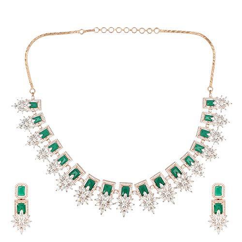 SONI SAPPHIRE - Parure composta da Collana e Orecchini in Oro Rosa smaltato con Smeraldo Verde Semi-prezioso e Diamanti Americani