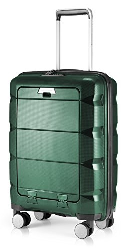 HAUPTSTADTKOFFER - Britz - Handgepäck mit Laptopfach Hartschalen-Koffer Trolley Rollkoffer Reisekoffer, TSA, 4 Rollen, 55 cm, 34 Liter, Dunkelgrün