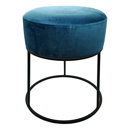 CREOFANT Taburete de terciopelo · Taburete acolchado con estructura de metal · Taburete acolchado · Taburete acolchado · Taburete de asiento · Taburete de tocador · Banco (azul | negro)