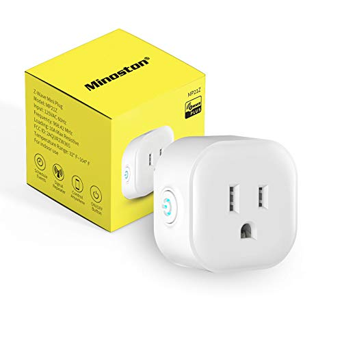 Z-Wave Plus Outlet, Mini Plug in Socket, Z-Wave Hub Required, Built-in Repeater/Range Extender, Work with SmartThings, Wink, Alexa, Google Assistant, FCC & ETL Listed(MP21Z)