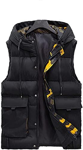 Chaleco de los hombres de Down Chaleco de algodón Otoño e Invierno con Capucha Multi-Bolsillos Herramientas Chaqueta de Protección