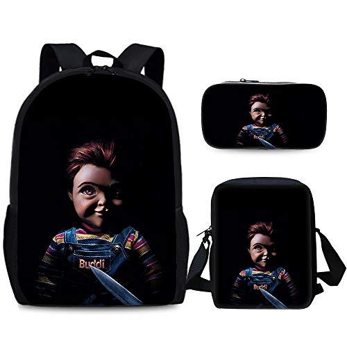 Good Guys Chucky Casual Backpack Fashion Wild Backpack Children 3D Travel Schoolbag Student Waterproof Lightweight Backpack Shoulder Bag Pen Bag Set Classic Casual Children Daypack Unisex