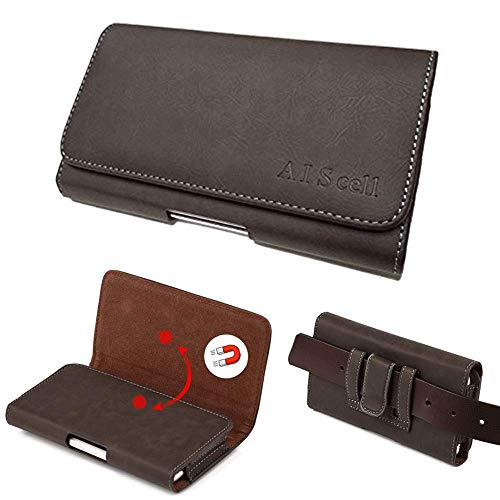 AIScell Belt Hip Leather Carrying Case, Brown Suede Faux Leather Pouch Belt Clip Holster 6.20 X 3.50 X 0.60 Inches,Compatible for Huawei Raven LTE H892L, with Hybrid Protective Case Armor Cover