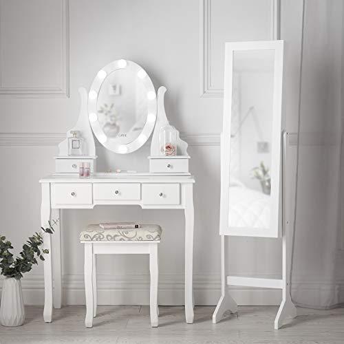 Carme - Tavoletta bianca con specchio Hollywood e armadietto per gioielli, con specchio a LED
