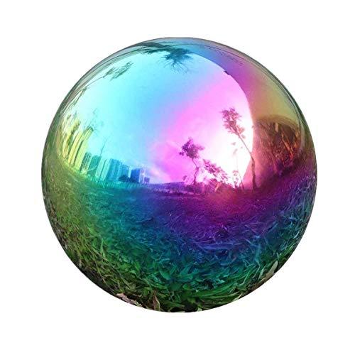 Edelstahl Gartenkugel, Spiegelpoliert Hohlkugel Reflektierende Gazing Ball, Schwimmende Teichkugeln Nahtlose Dekokugel Spiegelkugel für Hausgarten Ornament Dekorationen (20cm x1, Rainbow)