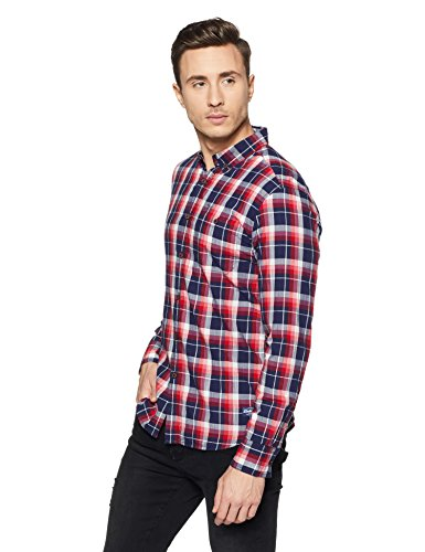 Flying Machine Men's Checkered Slim Fit Casual Shirt (FMSH8065_Red_Large FS)