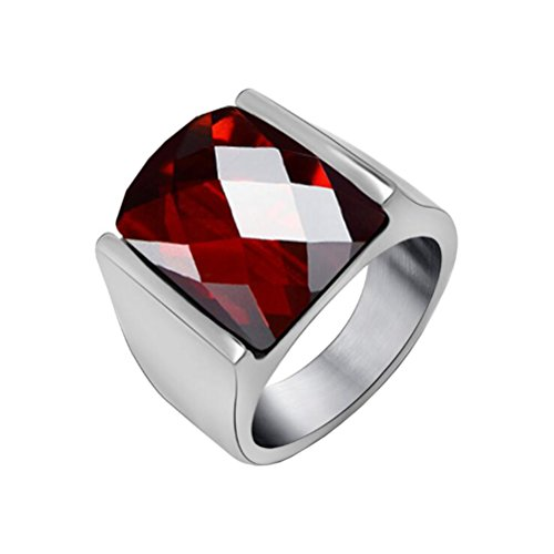 PAURO Hombre Acero Inoxidable Anillo de Piedras Preciosas de Ágata de Corte de Diamante con Lado de Plata Pulido, Rojo Tamaño 27