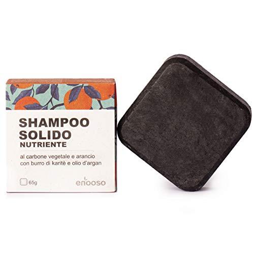 Shampoo Solido Bio Purificante e Nutriente al Carbone Vegetale 65 g - Enooso - 100% Artigianale Biologico Naturale Vegano - Made in Italy