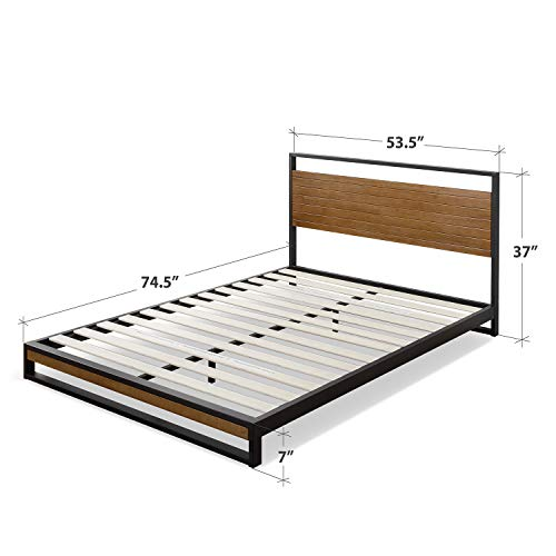 Zinus Suzanne Metal and Wood Platform Bed with Headboard / Box Spring Optional / Wood Slat Support, Full