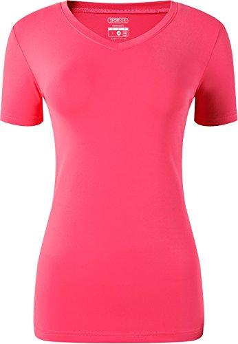 jeansian Damen Sport Quick Dry Fit V Ausschnitt Kurzarm T-Shirt Tee Shirt Tops Golf Tennis Bowling SWT240 - - US XL (Hemd Büste 109/ 127 cm)