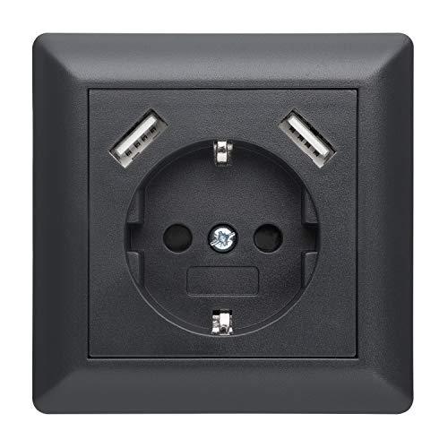 230 V Steckdose mit 2 x USB Ladegeräten, Schuko Wandsteckdose Unterputz, passend für Gira System 55 E2, Anthrazit (Grau), TÜV Rheinland zertifiziert (Einfachsteckdose)