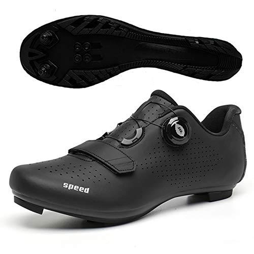 WPW Zapatillas de Ciclismo para Hombres y Mujeres, MTB, para Montar en Carretera, Zapatillas con Hebilla, compatibles con Spinning SPD/SPD-SL (Color : Black B MTB, Talla : UK-9.5/EU44/US-10.5)