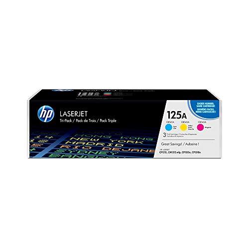 HP 125A CF373AM, Tricolor, Cartucho Tóner Original, Pack de 3, para impresoras HP ColorLaserJet CP1215, CP1515, CP1518; CM1312 y CP151n