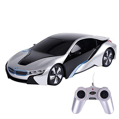 PowerTRC 1:24 Rastar BMW I8 Concept Remote Control Sports Car | Racing Toy | Silver
