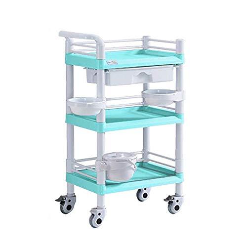 CENPEN Sombrilla Carro Portátil utilidad médica con cajones y suciedad Cubo, 3 Nivel de belleza Equipo for el salón del balanceo mesa con ruedas, 220-330lbs Capacidad de Carga (Color: Verde, Tamaño: 5