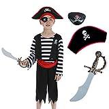 Sincere Party Déguisement garçon pirate enfant avec chapeau, épée, cache-œil 4-6 Ans