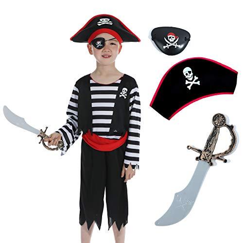 Sincere Party Disfraz infantil de pirata con sombrero, espada y antifaz, disfraz de pirata 4-6 años